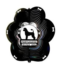 """Stainless Steel Portuguese Water Dog 12"""" Wind Spinner, Black Garden Chimes Patio"""