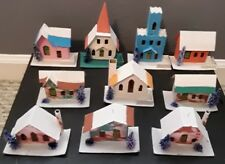 10 Vintage Putz Christmas Houses & Church Cardboard Glitter ~ Japan