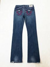 True Religion Womens Jeans Sz 27 Boot Cut Medium Wash Pink Stitch Flap Pockets