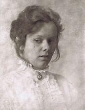 "Hendrickson Original Photo Sepia PORTRAIT OF SCARED WOMAN 11x14"""