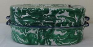 Rare Antique Emerald Enamelware Graniteware Large Covered Roasting Pan