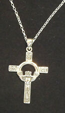 "Sterling Silver Claddagh Trinity Knot Celtic Cross Pendant 18"" Chain"