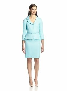 Tahari Arthur S. Levine Women's Tina Herringbone 2PC Suit Set, Light Blue,10P