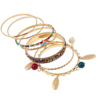 Bohemian Retro Ethnic Tribal Rhinestone Crystal Beads Multilayer Bangle Bracelet