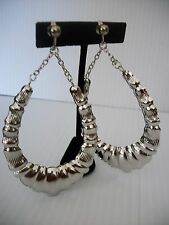 """3 1/2"""" silver bamboo chain clip on earrings basketball wives non pierced"""