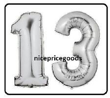 JUMBO 40 INCH FOIL NUMBER 13 13TH HELIUM BALLOON PARTY BIRTHDAYS BALLOONS EVENTS