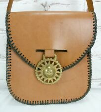 Vintage Leather Saddle Shoulder Bag Handbag Circa 1970s Tan Retro Boho Hippy