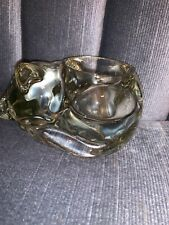 Avon Snug N Cozy Crystal Glass Cat Sleeping Candle Holder Votive Tea Light 1980