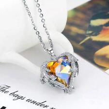 1X Women Angel Wing Long Necklace Heart Rhinestone Crystal Chain Pendant Jewelry