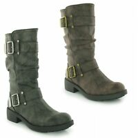 Rocket Dog TRUMBLE Ladies Womens Faux Leather Zip Up Buckle Biker High Boots