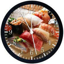 Japanese Sushi Black Frame Wall Clock Nice For Decor or Gifts W125