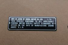 Motorcycle Honda 1972 1/72 VIN PLATE TAG HEADTUBE FRAME WITH RAISED NUMBER