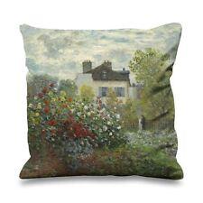 Claude monet le jardin à argenteuil en soie synthétique 45cm x 45cm canapé coussin