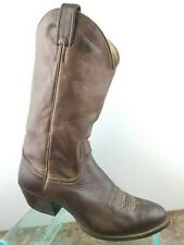 ef14a84d8b0f9 Larry Mahan Brown Smooth Ostrich Pull Up Round Toe Western Cowboy Boots Mens  9B