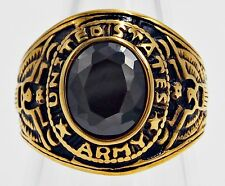 MEN RING BLACK ONYX STAINLESS STEEL YELLOW GOLD US EAGLE SOLDIER MILITARY SIZE 9