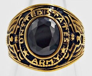 MEN RING ONYX STAINLESS STEEL YELLOW GOLD US MILITARY EAGLE SOLDIER SIZE 10.25