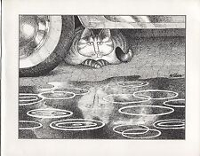 Kliban Cat in the Rain. Reflection in the Puddle. Vintage 1981 print. 9 x 11