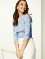 M&S Marks Spencer Blue Floral Cotton Slash Neck 3/4 Sleeve Blouse T Shirt Top