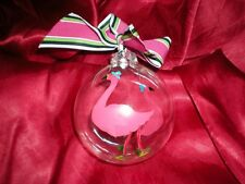 GLASS PINK FLAMINGO GLOBE WITH DOTS CHRISTMAS ORNAMENT