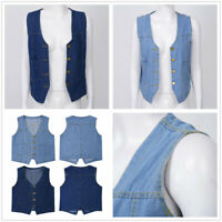 Women Fashion V Neck Button Loose Denim Waistcoat Vest Sleeveless Jean Jacket