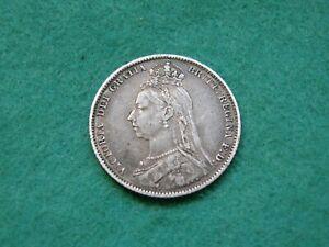 1890 Jubilee head Victoria Silver Shilling A/VF dark toned (SE-01)