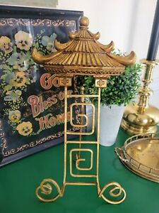 Gold Metal Asian Pagoda  Display Easel Art Plate Book Stand Decor Chinoiserie