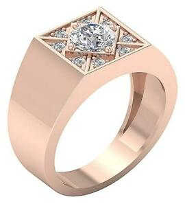 Men's Solitaire Engagement Ring I1 G 1.30 Carat Round Cut Diamond 14K Solid Gold