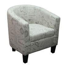 Taylor Script Fabric Tub Chair on Dark Brown Wooden Legs  - BRAND NEW