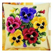 Vervaco 1200/784 LRG Hole Canvas Pansy Posy Cushion Front Cross Stitch Kit 40cm