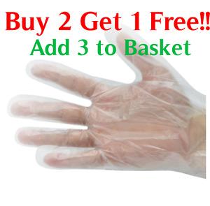 200 Disposable Quality Clear Plastic Polythene Gloves Food Safe Medical Salon