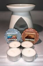 Ceramic Wax Melt Warmer / Burner , Tealights &  2 x Yankee Tarts Starter Pack