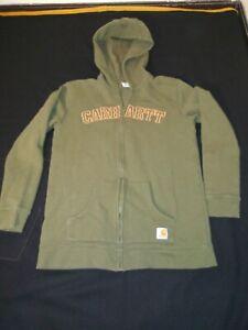 Carhartt Kids Youth L/14-16 Brown Embroidered Full Zip Hoodie Hooded Sweatshirt