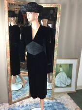 Womens Vintage Tom D'Auria Black Velvet Midi Dress L/S Satin Bow Sz 3/4