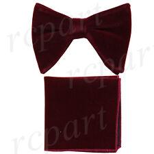 New in box Brand Q formal Men Pre-tied long velvet Bow tie & Hankie Burgundy