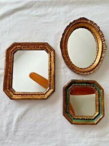 Set of 3 Vtg Florentine Gold Gilt Italian Wood Framed Mirrors Hollywood Regency