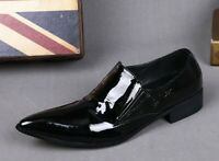 Mens British Pointed Toe Slip On Business Casual Leather Oxfords Shoes Stylish