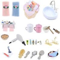 Dollhouse DIY Miniature Bathroom Furniture Accessories Sets Pretend Play Toys