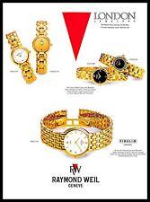 1993 Raymond Weil Fidelio Watches Vintage PRINT AD Gold Mineral Crystals 1990s
