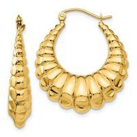 14k Yellow Gold Scalloped Hoop Earrings Ear Hoops Set Fine Jewelry Women Gifts