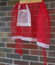Vintage Red Nylon Santa/Christmas Cocktai Hostessl Apron As Is