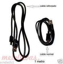 Cable Reforzado para BQ AQUARIS Cargador Micro USB de carga y datos / Negro