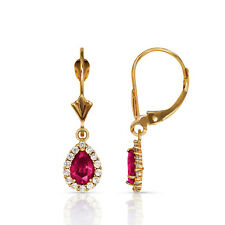 2.25 CTW Halo Ruby Pear Tear Drop Dangle Leverback Earrings 14K Yellow Gold