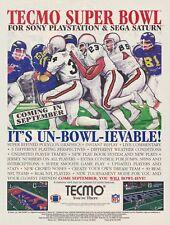 Original TECMO SUPER BOWL PlayStation PS1  Sega Saturn video game print ad page