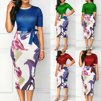 Women Bodycon Dress Patchwork Floral Print Short Sleeve O-neck Mini Dress S-XXL