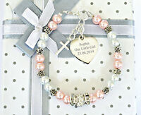 Personalised Engraved Christening Holy Communion Flower Bracelet  Gift in Box