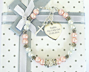 Personalised Engraved Christening Holy Communion Bracelet Gift in Box 12 colours