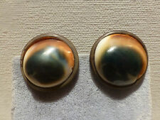 Antique hand crafted operculum shell faux tortoise shell clip earrings Art Deco