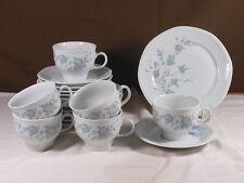 Kaffeeservice 6x Kaffeegedeck Tasse Mitterteich Porzellan 140 blau rosa Blumen