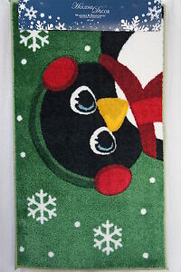 """Holiday Decor """"Penguin"""" Rug Washable & Handcarved Holiday Accent Rug 18"""" X 30"""""""