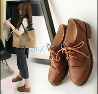Ladies Women Lace Up Casual Oxford Wingtip Shoes UK Size Brogues Pumps Fashion